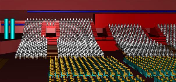 3D-Modell Arena Leipzig – Ansicht der Tribünen